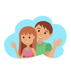 couple younger man and woman waving his hand in vector image