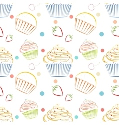 Cupcakes food pattern Seamless background vector image