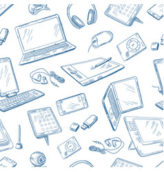 different computer devices in hand drawn style vector image vector image