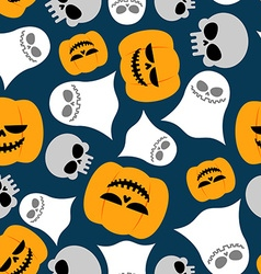 Pumpkin Ghost and skull seamless pattern vector image