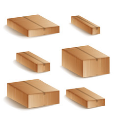 realistic cardboard boxes set isolated vector image vector image