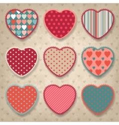 Retro background of vintage design with hearts vector image