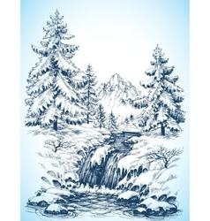 Winter snowy landscape pine forest and river in vector image