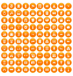 100 property icons set orange vector image vector image