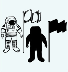 Astronaut and flag vector image vector image