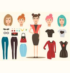 fashion model elements set vector image vector image