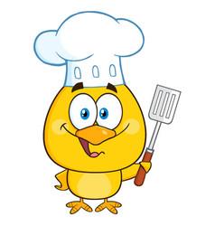 happy chef yellow chick cartoon character vector image vector image