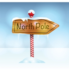 North Pole Christmas Wooden Sign vector image