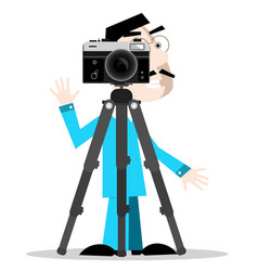 photographer with camera on tripod isolated on vector image