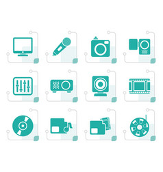 stylized media equipment icons vector image