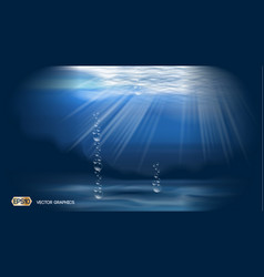 water bubbles deep ocean background ads template vector image vector image