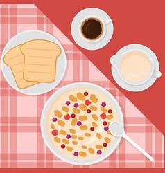 Breakfast top view in flat vector
