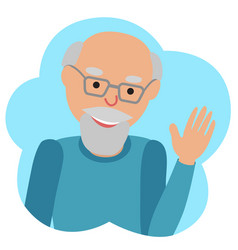 drawing of icon elderly man in the cloud vector image vector image