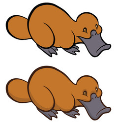 funny smiling cartoon platypus vector image vector image