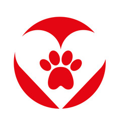 heart with paw footprint mascot isolated icon vector image vector image