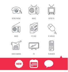 radio tv remote and video camera icons vector image