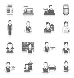 Set icons salesman black vector image