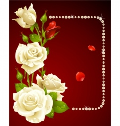 white rose and pearls vector image vector image