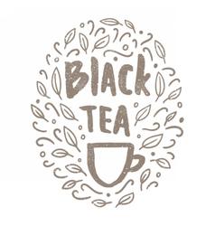 Black tea doodles vector image vector image