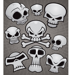 Cartoon skull collection vector