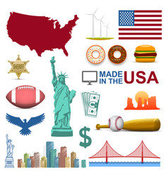 collection of icons the united states usa sign vector image