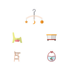 Flat baby set of playground mobile child chair vector
