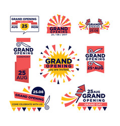 grand opening ribbon band icons for vector image vector image