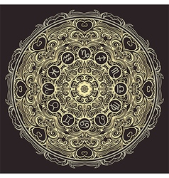 mandala and zodiac circle with horoscope signs vector image vector image