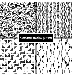 Set of four monochrome geometrical patterns vector image vector image