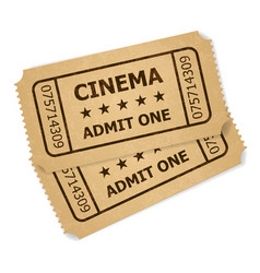 two retro cinema tickets of designer on a white vector image