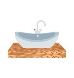 Washbasin bathroom cartoon flat vector image