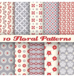 10 Floral fashionable seamless patterns tiling vector image