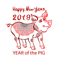 2019 zodiac red pig happy new year 2019 chinese vector