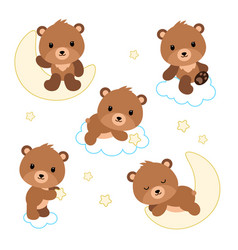 Adorable flat bears on clouds or moon vector