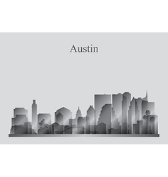 Austin city skyline silhouette in grayscale vector