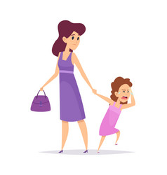 bad behavior little girl crying isolated mother vector image