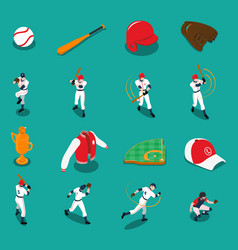 Baseball isometric icons set vector