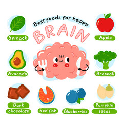 Best foods for happy brain infographic poster vector