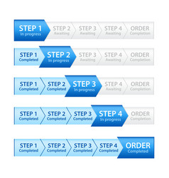 Blue Progress Bar for Order Process vector image