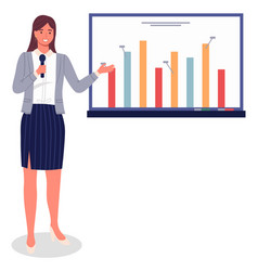 business woman or manager gives presentation on vector image