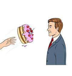 Cake is thrown in face pop art vector