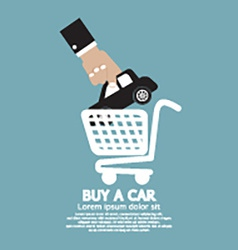Car In Shopping Cart Buy a Car Concept vector