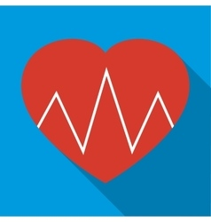 Cardiogram heart icon flat style vector