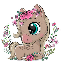 cartoon horse with flowers on a white background vector image