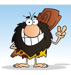 Caveman Gesturing The Peace Sign With His Hand vector image