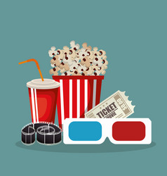 Cinema food with film icons vector