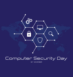 Computer security day letter emblem with hexagon vector