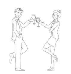 Couple clink glasses outline doodle vector