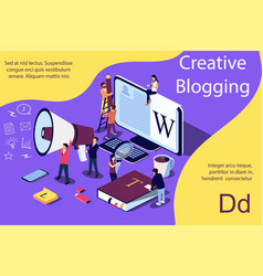 creative blogging isometric concept people vector image