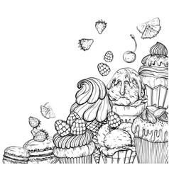 culinary background with cupcakes and ice cream vector image